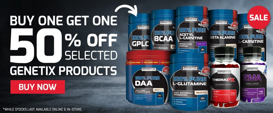 Buy 1 get the 1 50% off Selected Genetix Products